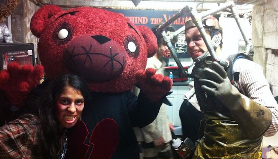 Life-sized Teddy Morose with other characters from Eastern State's Terror Behind the Walls.