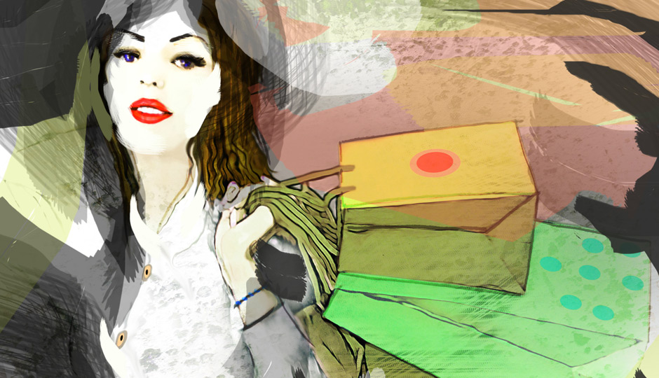 illo girl with shopping bags