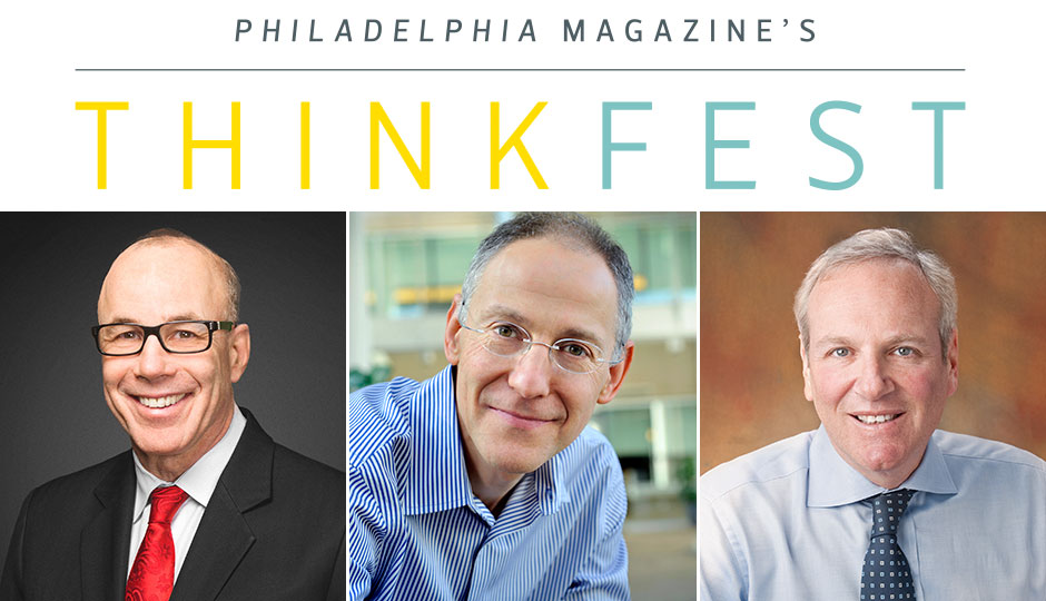 Dr. Stephen Klasko, president and CEO of Jefferson; Dr. Ezekiel Emanuel, head of medical ethics and health policy at Penn; and Dr. Stephen Altschuler, CEO of CHOP.