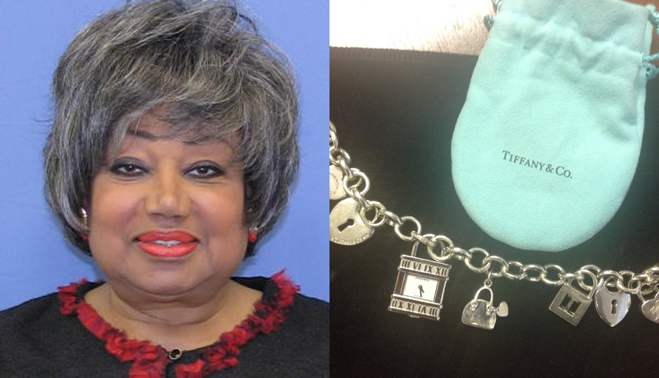 Thomasine Tynes, left. The bracelet she's alleged to have accepted from a undercover confidential informant for the attorney general's office.