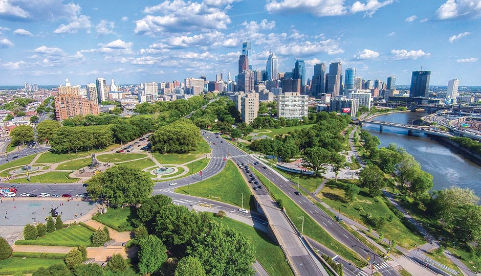 The Benjamin Franklin Parkway and skyline. Photograph by Matt Satell