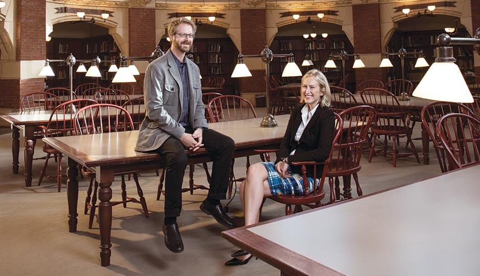 Nathaniel Popkin and Diana Lind at Penn's Fisher Fine Arts Library. Photograph by Justin James Muir