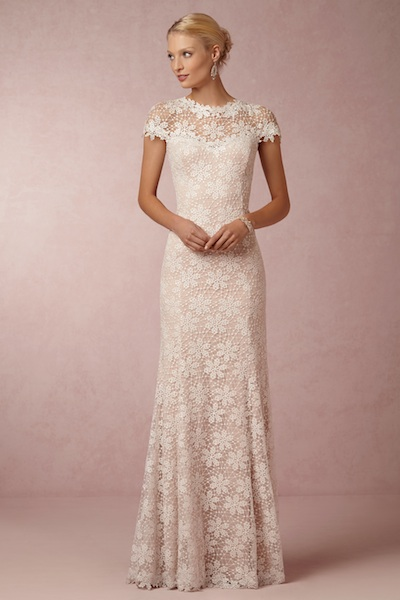 We'd love to see BHLDN's Nova lace gown waiting at our doorstep.
