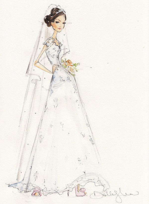Here's a peek at one of Dallas Shaw's stunning bridal illustrations.