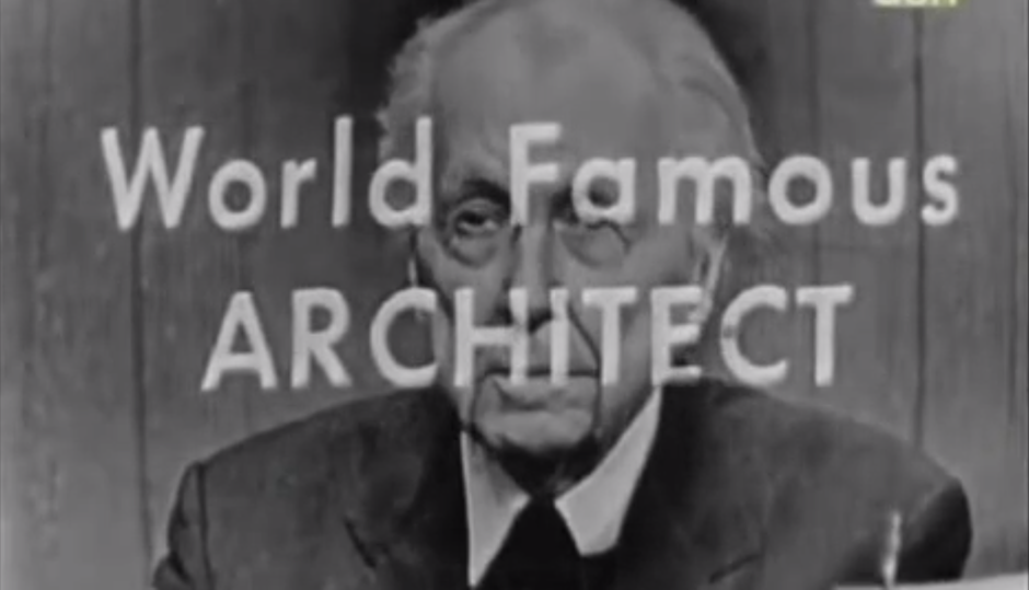 "A screen shot from a film made by Hugh Petter, who's trying to build the first Frank Lloyd Wright designed-building in the UK. It shows Wright on the TV show ""What's My Line?"""