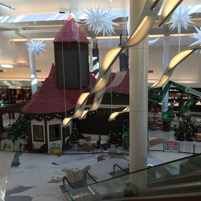 A snapshot of the Shrek adventure being installed at Cherry Hill Mall.