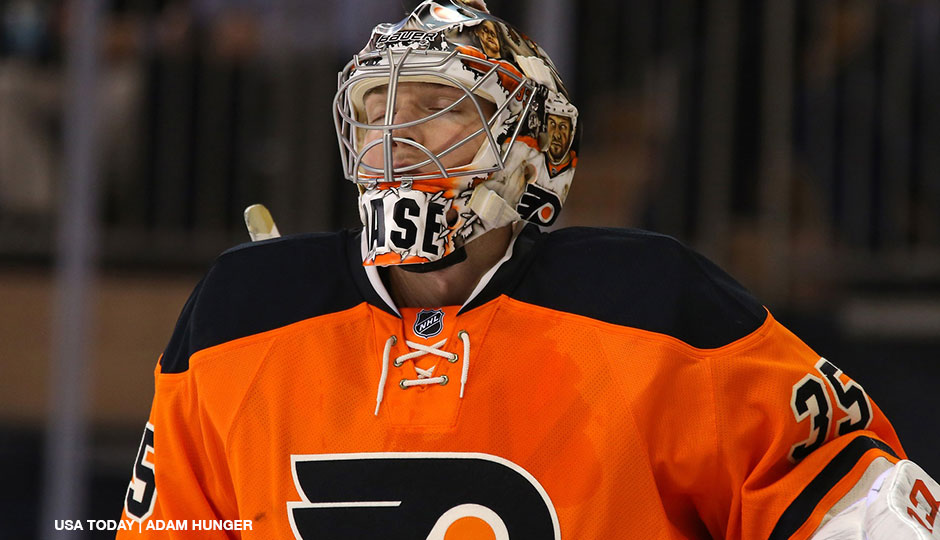 Philadelphia Flyers goalie Steve Mason (35) reacts against the New York Rangers during the first period at Madison Square Garden on November 19, 2014.