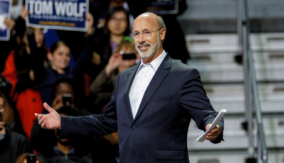 Tom Wolf at a recent campaign rally with President Obama. Photo  | Jeff Fusco