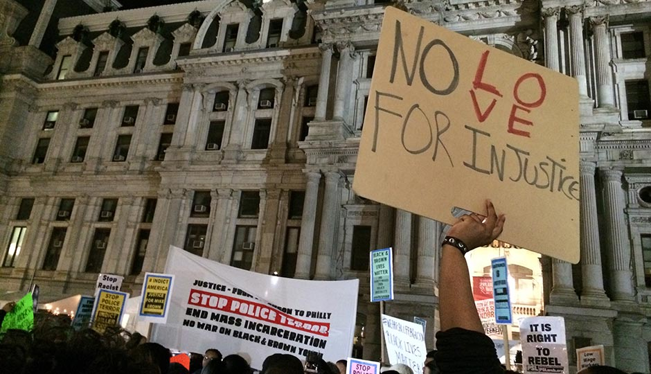 @FergusonPHL protest at 9 p.m., just before the findings were announced. Photo by Victor Fiorillo