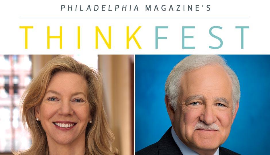 University of Pennsylvania president Amy Gutmann and 6 ABC anchor Jim Gardner.
