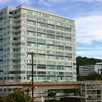 An office building along the train line in Conshohocken.  Photo credit:  Montgomery County Planning Commission via Flickr.