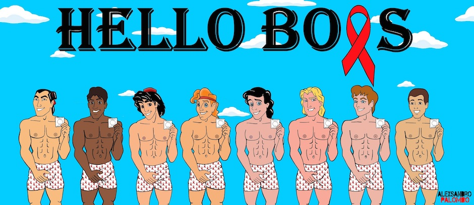Disney Prince Wall  Hello Boys Awareness Campaign Advert Condom Against AIDS STOP HIV Art Artist aleXsandro Palombo Contemporary Iconic Disney Carachetrs Painting Illustration Web