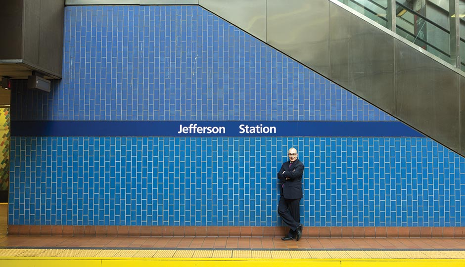 The new president and CEO spent nearly $4 million to rename SEPTA's Market East Station — the highest-profile move to date in his bid to make Jefferson into a paragon of medical entrepreneurialism. Photograph by Dustin Fenstermacher