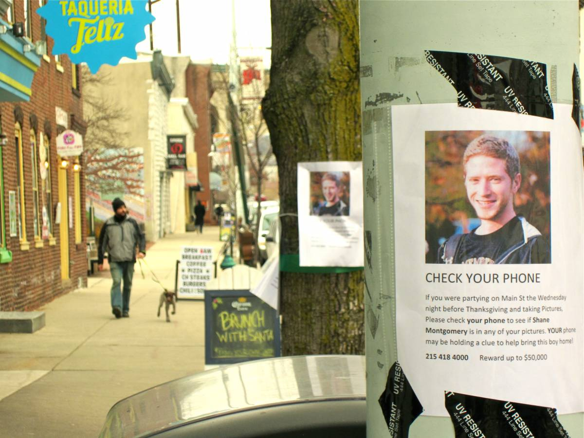 Fliers for Montgomery are often within feet of each other on Main Street in Manayunk.