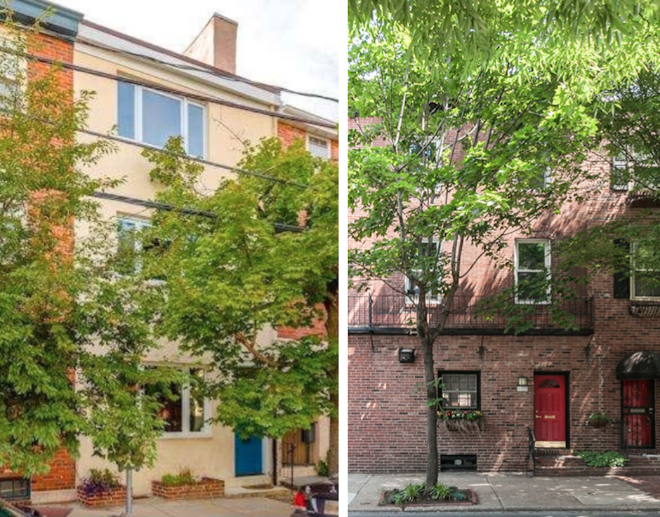 510 S. 20th (L) and 1725 Lombard square off (Images via TREND/Keller Williams and Kurfiss Sotheby's)