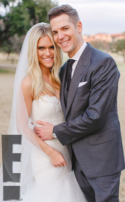 Lauren Scruggs and Jason Kennedy on their wedding day. Photo courtesy of E!