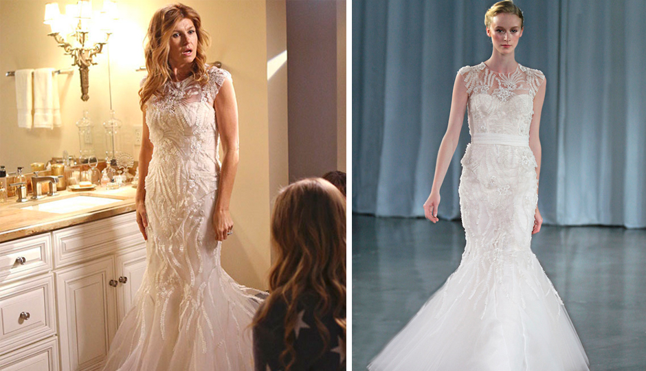 Rayna James' wedding dress, as seen on ABC's Nashville, and on the runway.