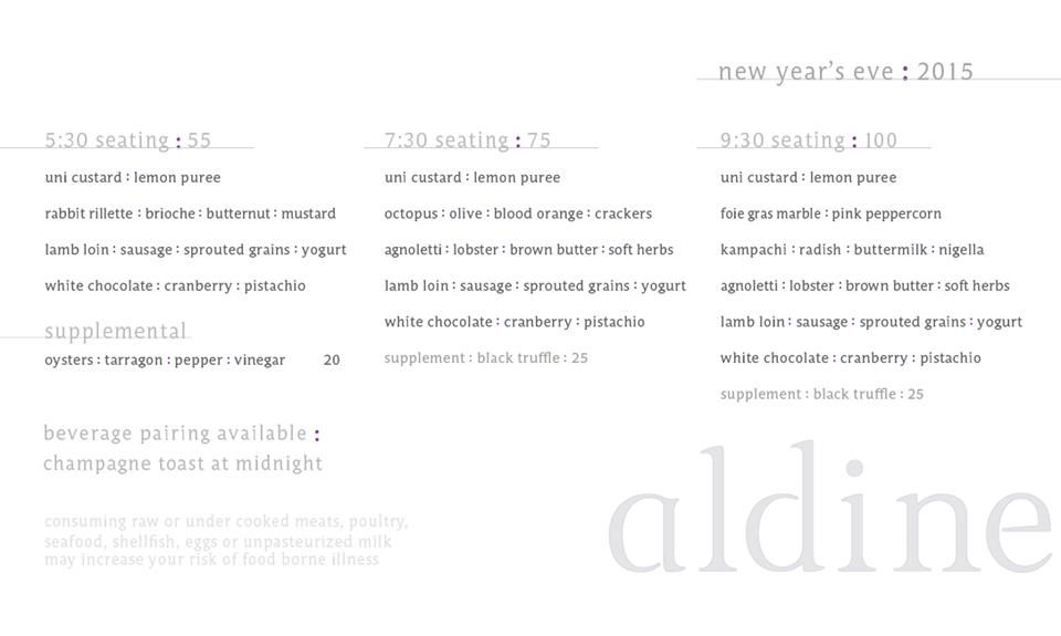 aldine nye menu