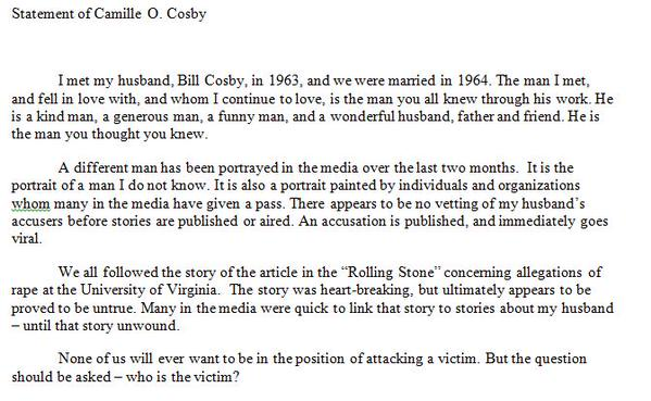 camille cosby statement
