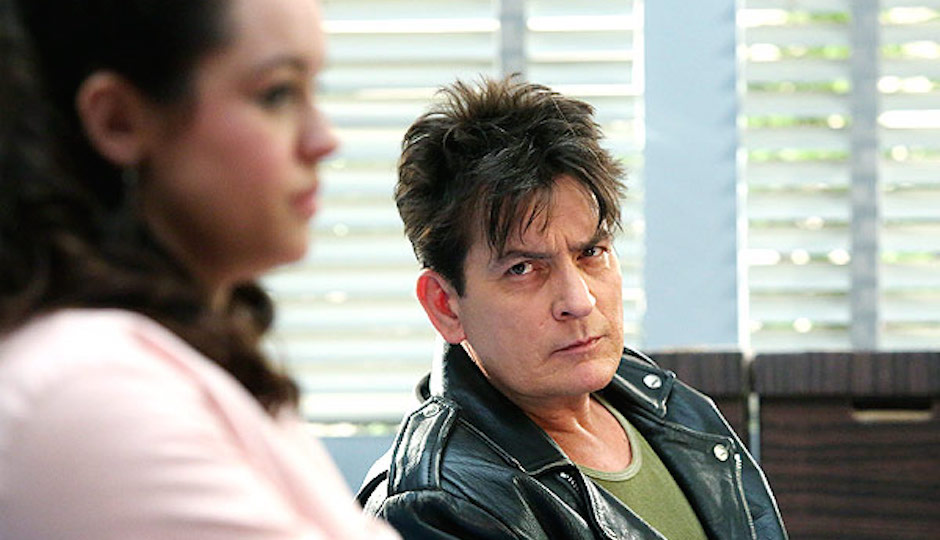 Hayley Orrantia and Charlie Sheen on The Goldbergs. | Photo by Giles Mingasson / ABC