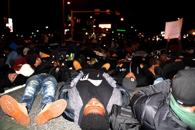 "POWER members ""die-in"" after the Eagles game last Sunday. Photo courtesy of POWER."