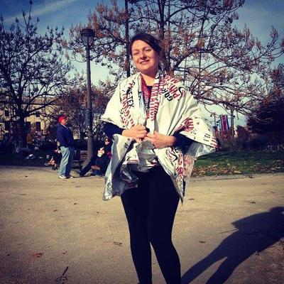 Writer Ellen Olstein after the Philadelphia Half Marathon