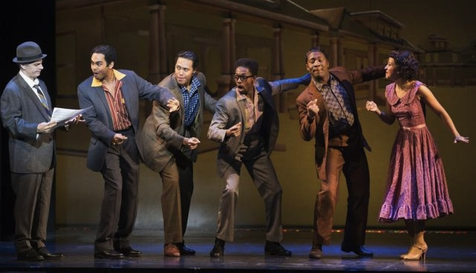 Jesse Nager (second to left) and cast in Motown: The Musical.