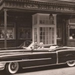 Jean and John M. Taxin in Cadillac in front of Old Original Bookbinders Restaurant Philadelphia