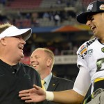 Chip Kelly and Marcus Mariota. (USA Today Sports)