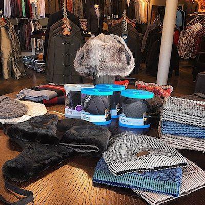 Cozy winter head gear on display at Metro Men's Clothing.