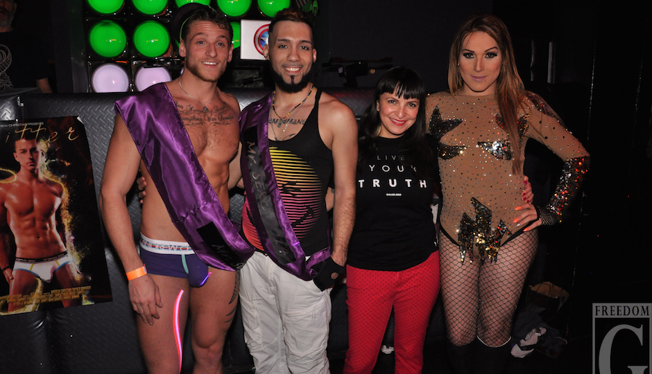 Mr. SEXO 2015 Marcous Marchese with last year's winner Syfr Gavriel, Elicia Gonzales and host Cyannie Famouz. Photo by Freedom G Photography