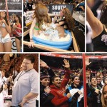 Scenes from recent Wing Bowls. Photos, clockwise from top left: Sportsradio 94WIP; Alejandro A. Alvarez/staff photographer; Associated Press