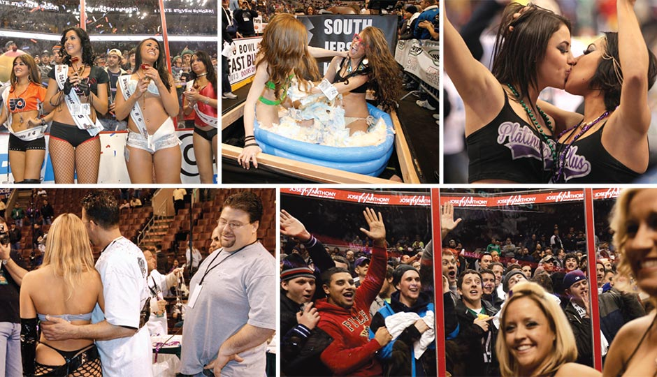 Scenes from recent Wing Bowls. Photos, clockwise from top left: Sportsradio 94WIP; Alejandro A. Alvarez/Daily News; Associated Press