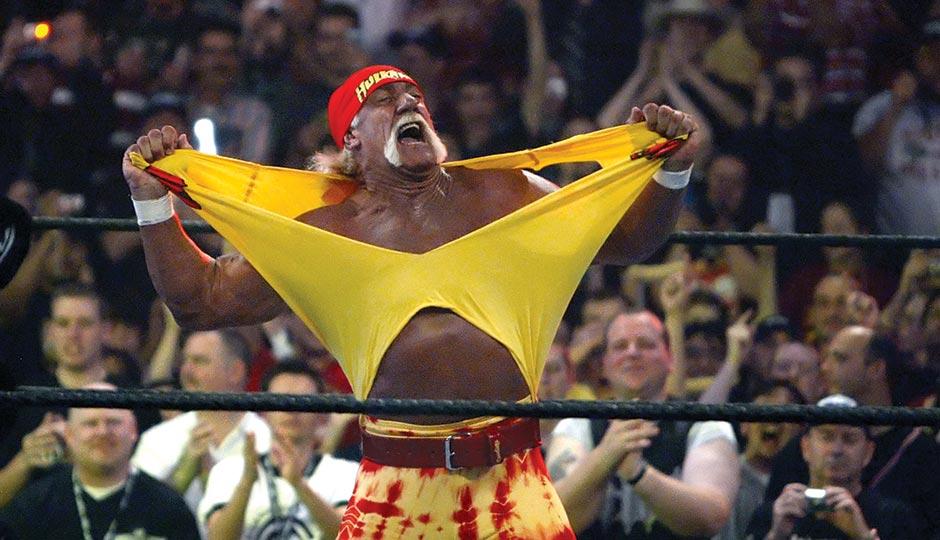 Wrestling superstar Hulk Hogan tears it off. Photo by Chris Carlson/Associated Press