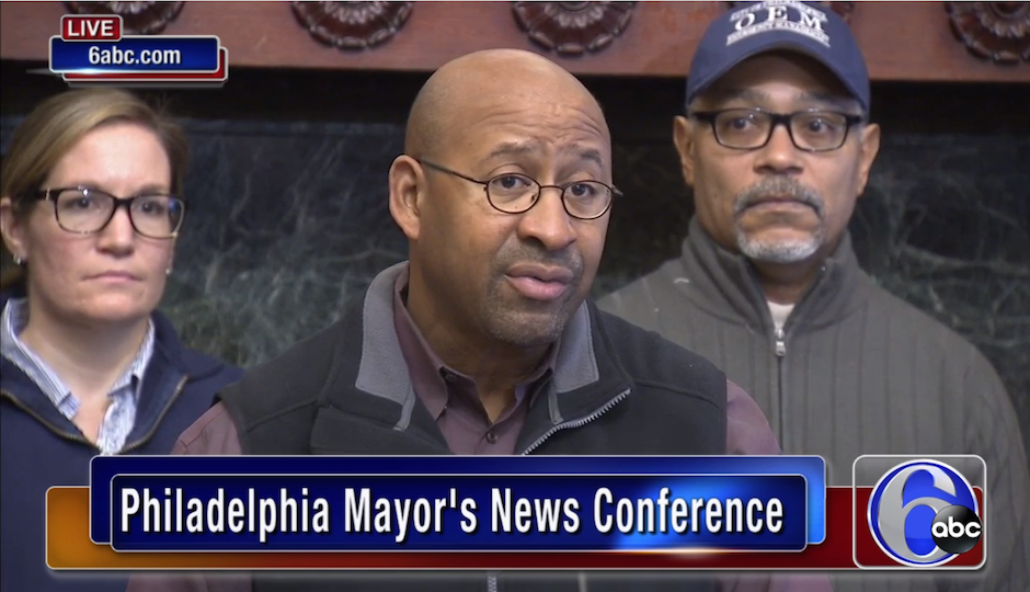 It might not have snowed all that much, but Mayor Nutter still wore his elected-official-in-extreme-weather uniform Tuesday.