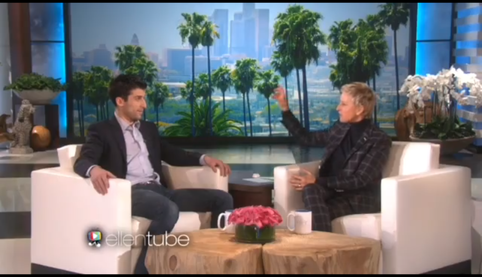 Screen shot of Mason Wartman, owner of Rosa's Fresh Pizza on Ellen.