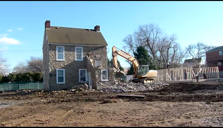 Screenshot of the Stokes House demolition video.