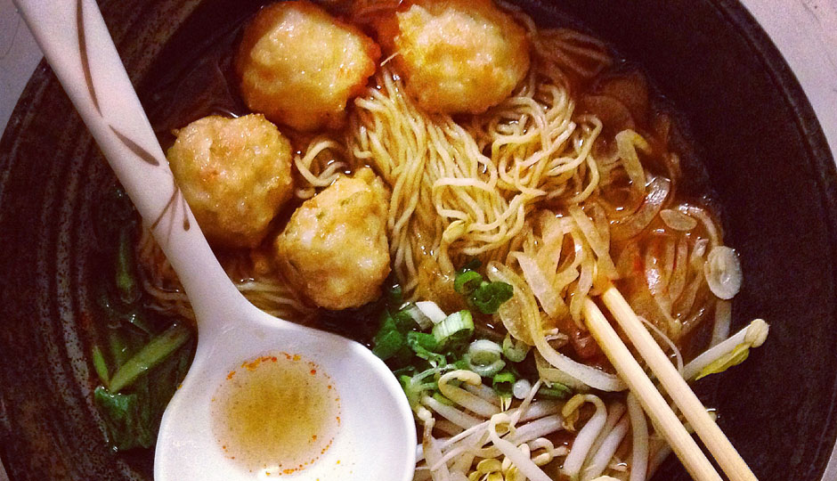 Cheu's new noodles: Spicy Shrimp Broth - egg noodle, shrimp balls, onion