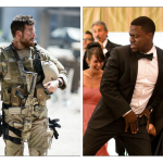 Bradley Cooper in American Sniper and Kevin Hart in The Wedding Ringer, both opening nationwide this weekend.