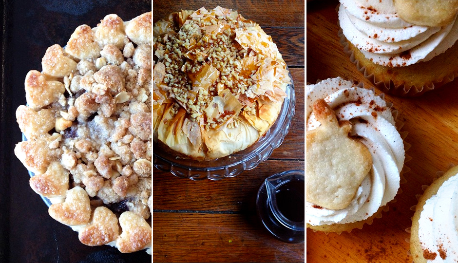 Treats from Crust Vegan Bakery; left to right: mixed berry pie with crumb topping, baklava cheesecake, and apple pie cupcakes.