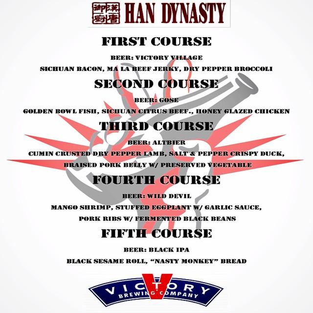 han dynasty university city victory beer dinner