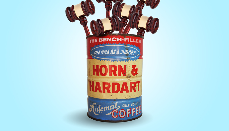 Behold, the (highly stylized, obviously) Coffee Can of Justice. (Coffee can: Hoofandantler.com; gavels: iStockphoto/Thinkstock)