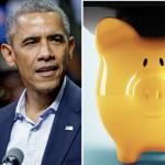 President Obama | Photo Jeff Fusco; piggy bank | Shutterstock.com