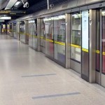 The Jubilee Line platform of the Westminster tube station in London.