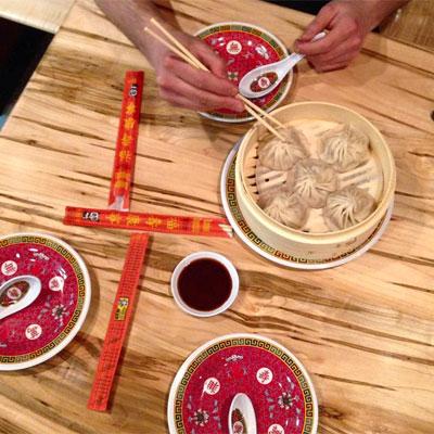 Soup dumpling testing at Bing Bing Dim Sum.