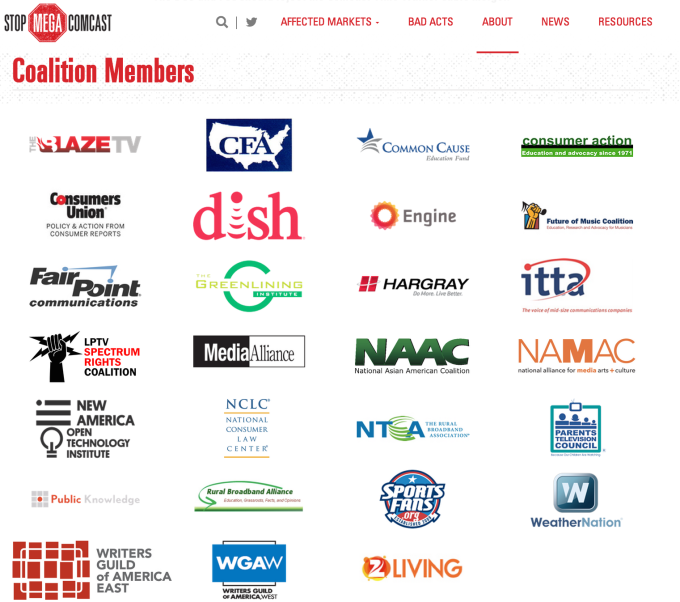 """The members of the """"Stop Mega Comcast Coalition."""" Graphic courtesy of Consumerist."""