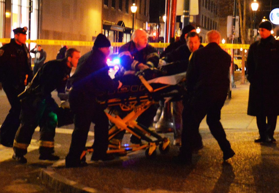 woman fell building hit pedestrian