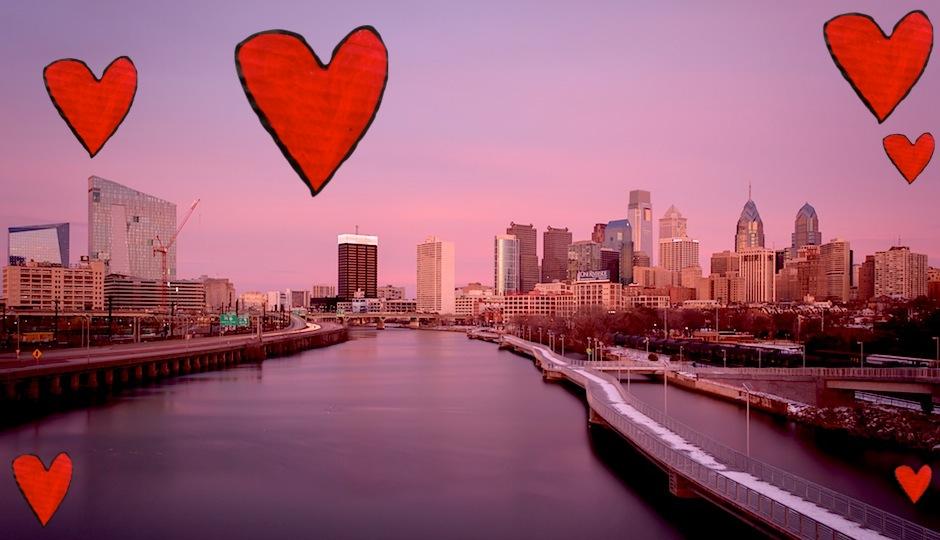 Photo credit: Philadelphia skyline by Daniel Ge via Flickr | Heart by Darwin Bell via Flickr.