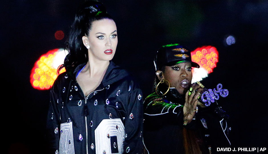Singers Katy Perry, left and Missy Elliott perform during halftime of NFL Super Bowl XLIX between the Seattle Seahawks and the New England Patriots Sunday, Feb. 1, 2015, in Glendale, Ariz.
