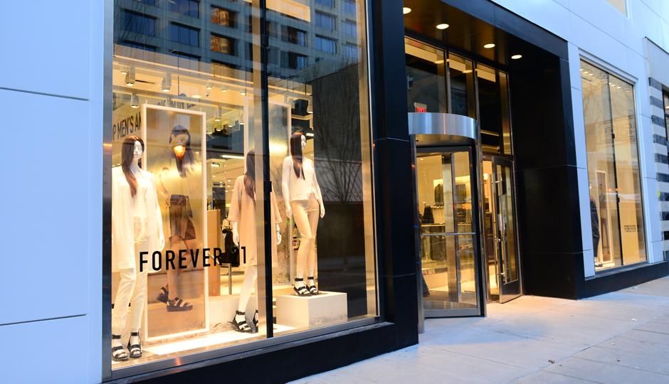 The shiny new Chestnut Street storefront.   Photo courtesy Forever 21.